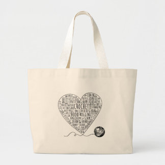 Crochet Words Tote Large (BW)
