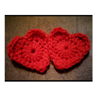 Crochet Yarn Hearts on Wood Handmade Postcard