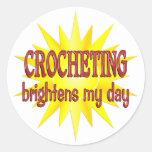 Crocheting Brightens My Day Sticker