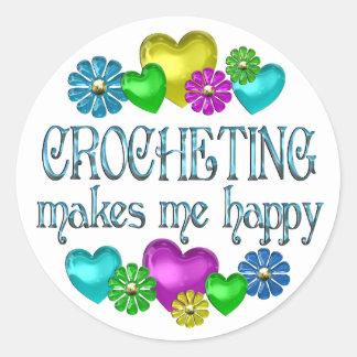 Crocheting Happiness Round Sticker
