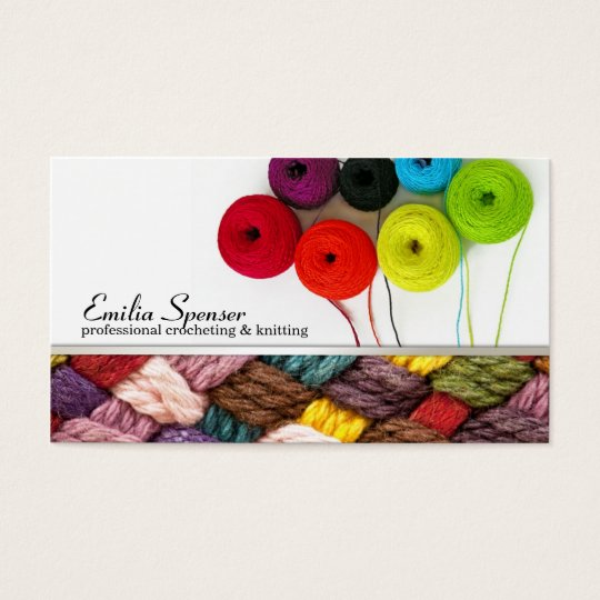 Crocheting & Knitting Colourful Business Card