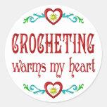 Crocheting Warms My Heart Round Sticker