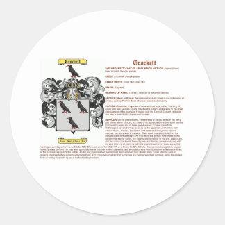 crockett (meaning) round sticker