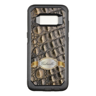 Crocodil Skin Custom Monogram OtterBox Commuter Samsung Galaxy S8 Case