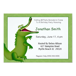 Crocodile/Alligator Birthday Invitation