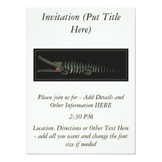 Crocodile - Antiquarian Colorful Book Illustration 17 Cm X 22 Cm Invitation Card