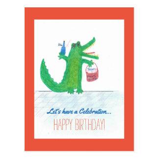 Crocodile Birthday Postcard