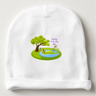 Crocodile Floating On Back In Pond Baby Beanie