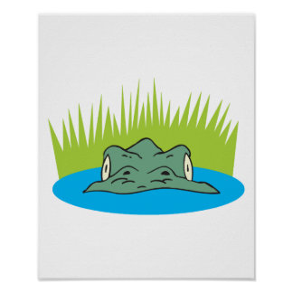 crocodile head in the water poster