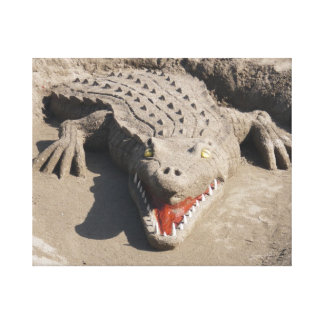 Crocodile made out of sand canvas print