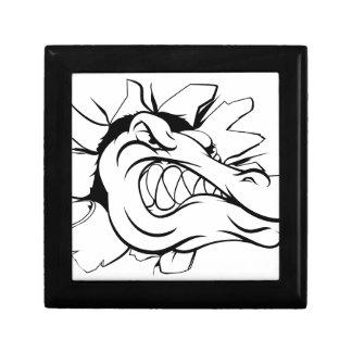 Crocodile or alligator head breaking through wall small square gift box