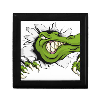 Crocodile or alligator smashing through wall small square gift box