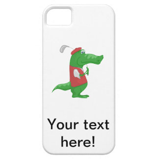 Crocodile playing golf cartoon barely there iPhone 5 case