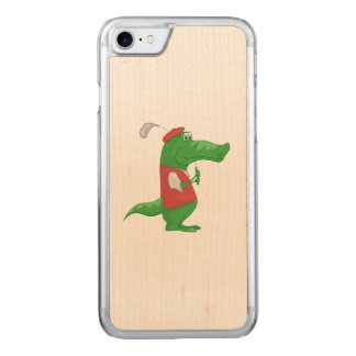Crocodile playing golf cartoon carved iPhone 7 case