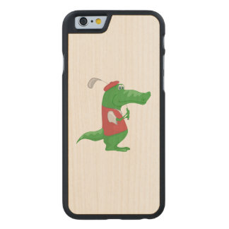 Crocodile playing golf cartoon carved® maple iPhone 6 case
