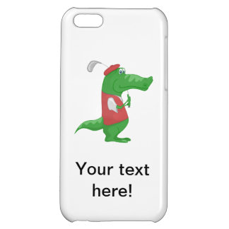 Crocodile playing golf cartoon case for iPhone 5C