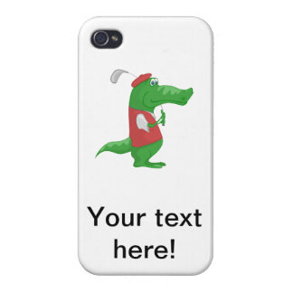 Crocodile playing golf cartoon cases for iPhone 4