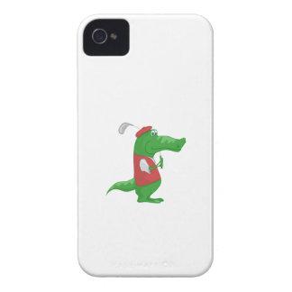 Crocodile playing golf cartoon iPhone 4 case