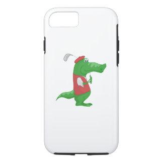 Crocodile playing golf cartoon iPhone 7 case