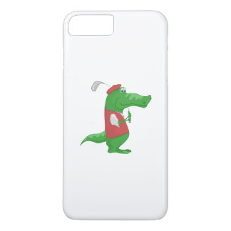 Crocodile playing golf cartoon iPhone 7 plus case