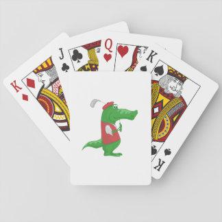 Crocodile playing golf cartoon playing cards