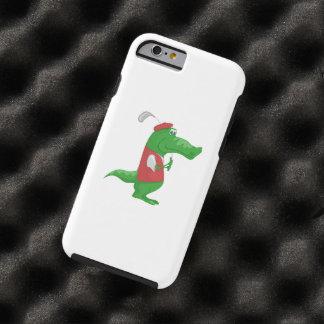 Crocodile playing golf cartoon tough iPhone 6 case