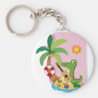 Crocodile playing guitar on island key ring