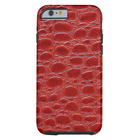 Crocodile Red Leather Look Tough iPhone 6 Case