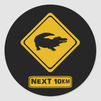 crocodile road sign classic round sticker
