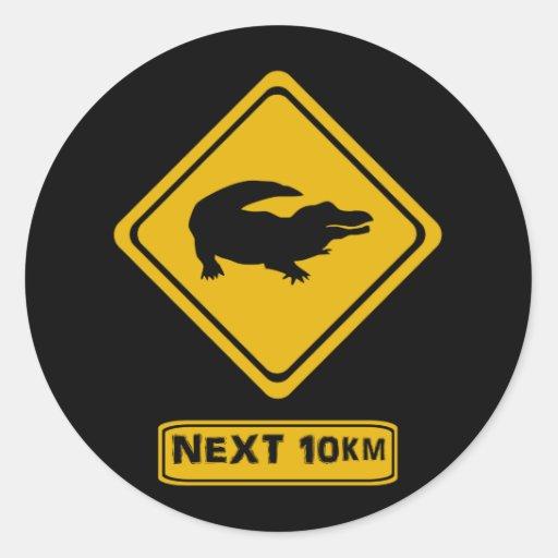 crocodile road sign round stickers