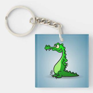 Crocodile Single-Sided Square Acrylic Key Ring