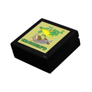crocodile stomping on hunter cartoon small square gift box