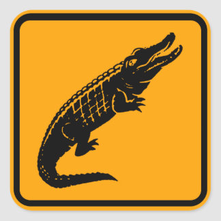 Crocodiles Australia Sign (pack of 6/20) Square Sticker