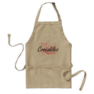 Crocodiles with flowers background standard apron