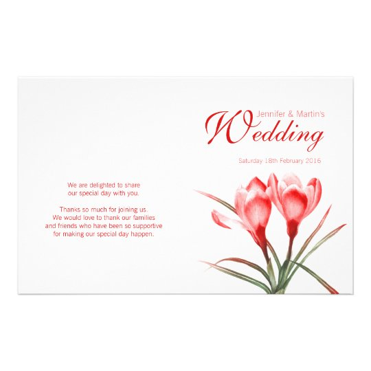 Crocus orange red floral wedding programme