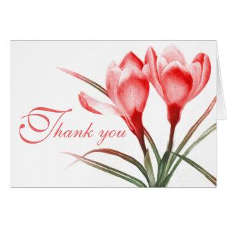 Crocus pink red wedding thank you card