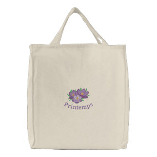 Crocuses and Printemps Embroidered Totebag Canvas Bags