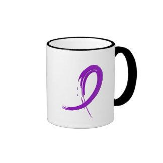 Crohn s Disease Purple Ribbon A4 Mugs