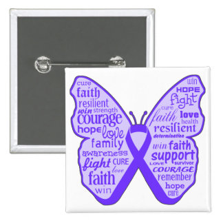 Crohn's Disease Awareness Butterfly Ribbon 15 Cm Square Badge