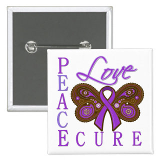Crohn's Disease Butterfly Peace Love Cure 15 Cm Square Badge