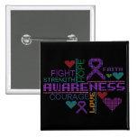 Crohns Disease Colorful Slogans Button