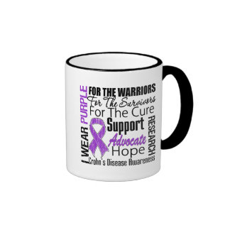 Crohn's Disease I Wear Purple Ribbon Ringer Mug