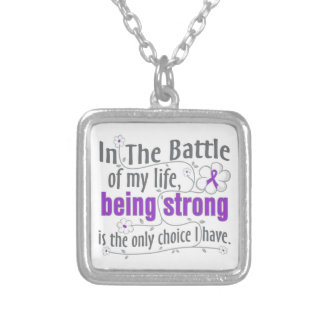 Crohns Disease In The Battle Square Pendant Necklace
