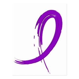 Crohn's Disease Purple Ribbon A4 Postcard