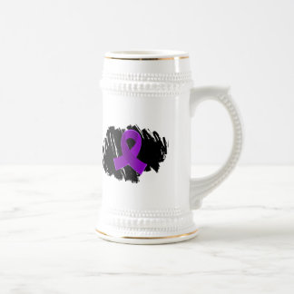 Crohn's Disease Purple Ribbon With Scribble Beer Steins