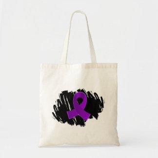Crohn's Disease Purple Ribbon With Scribble Budget Tote Bag