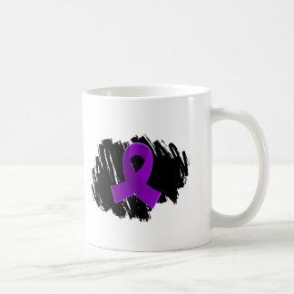 Crohn's Disease Purple Ribbon With Scribble Basic White Mug
