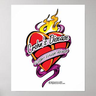 Crohn's Disease Tattoo Heart Poster