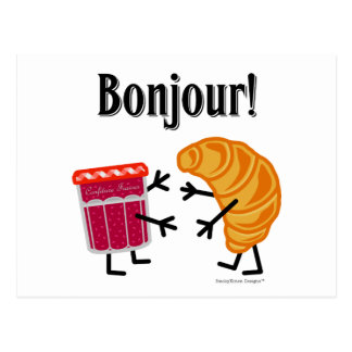 Croissant and Jam - Bonjour! Post Card
