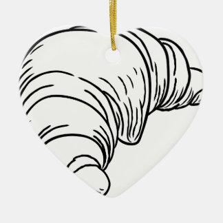 Croissant Vintage Retro Woodcut Style Ceramic Heart Decoration
